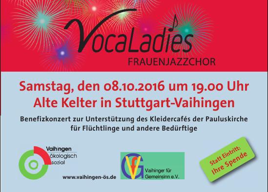 Am 8.10. um 19 Uhr in der Alten Kelter (Kelterberg 5) VocalLadies Frauenjazzchor - Benefizkonzert zur Unterstützung des Kleidercafés der Pauluskirche für Flüchtlinge und andere Bedürftige